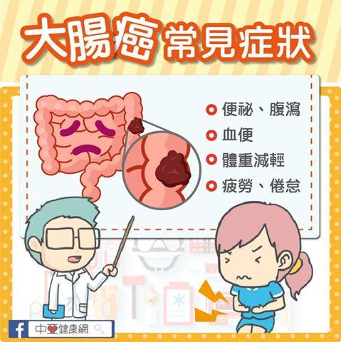 大腸癌常見症狀包括:排便習慣改變(如:便祕、腹瀉)、血便、暗紅色糞便、糞便形狀變細而硬等。